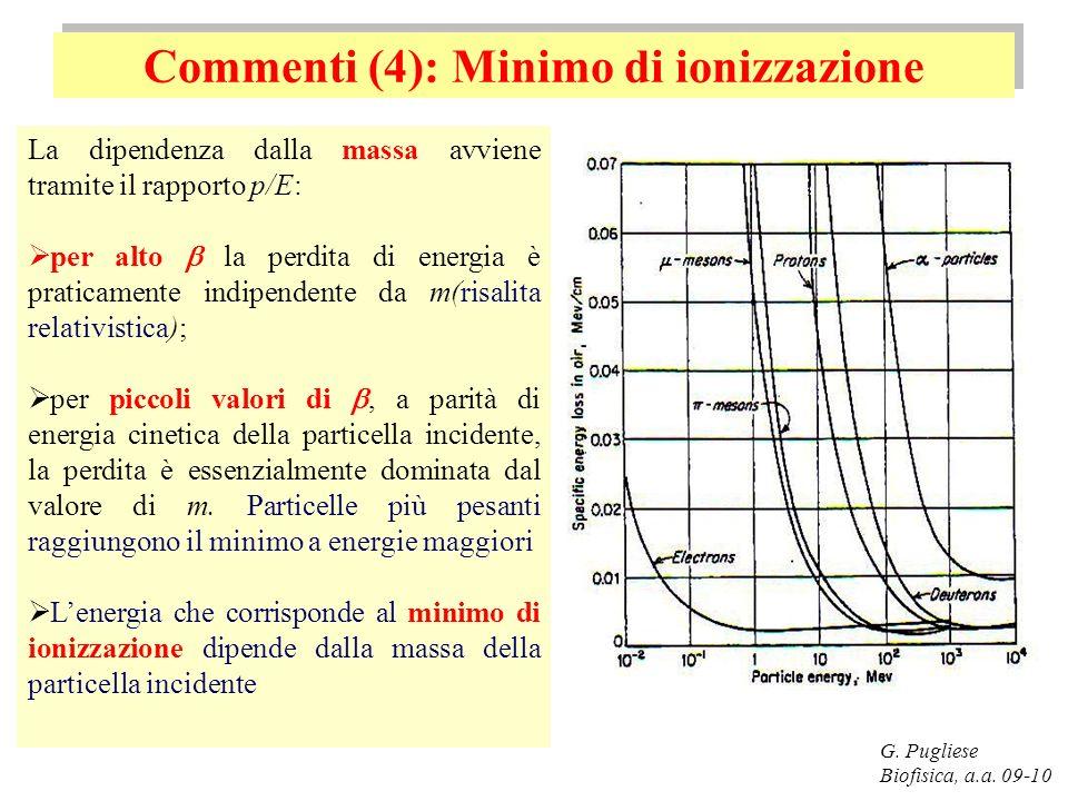 Commenti (4): Minimo di ionizzazione G. Pugliese Biofisica, a.a. 09-10 La dipendenza dalla massa avviene tramite il rapporto p/E: per alto la perdita