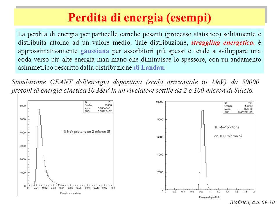 Perdita di energia (esempi) G. Pugliese Biofisica, a.a. 09-10 Simulazione GEANT dell'energia depositata (scala orizzontale in MeV) da 50000 protoni di