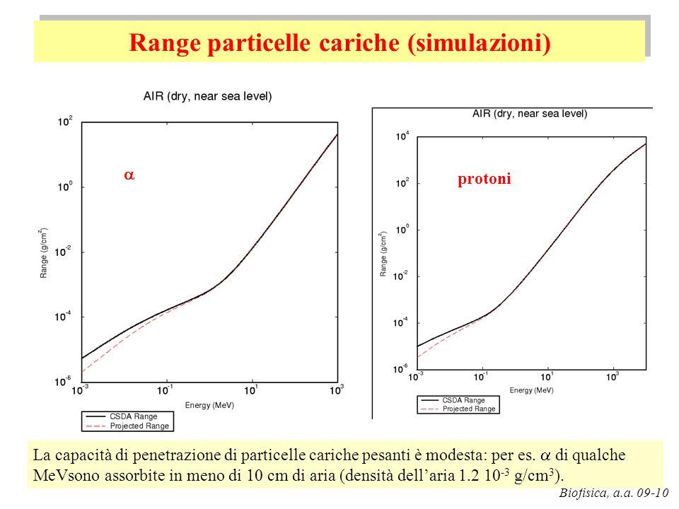 Range particelle cariche (simulazioni) G. Pugliese Biofisica, a.a. 09-10 protoni La capacità di penetrazione di particelle cariche pesanti è modesta: