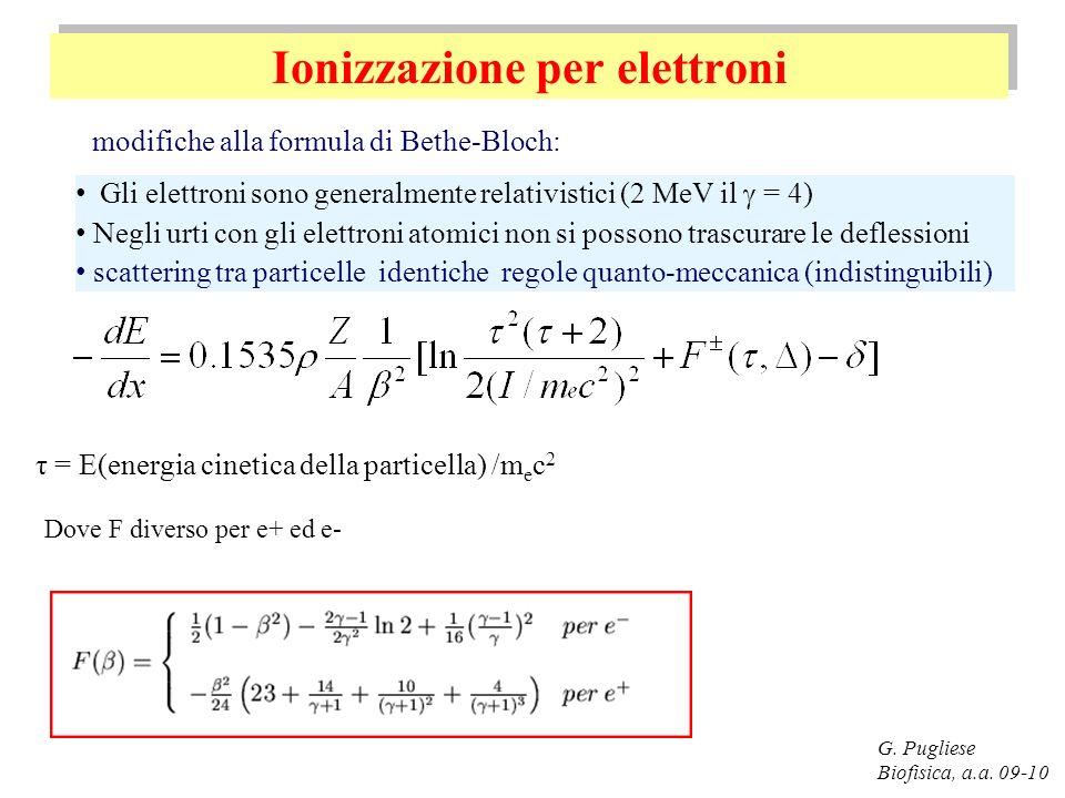 Ionizzazione per elettroni G. Pugliese Biofisica, a.a. 09-10 modifiche alla formula di Bethe-Bloch: Gli elettroni sono generalmente relativistici (2 M