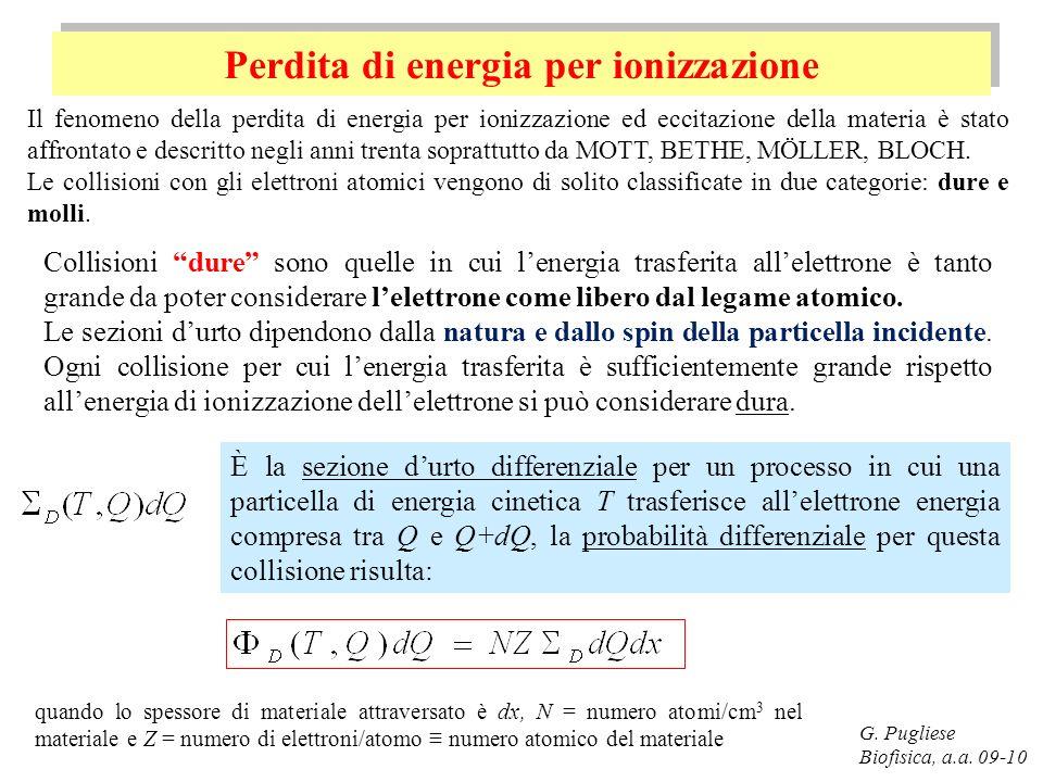 Perdita di energia per ionizzazione G. Pugliese Biofisica, a.a. 09-10 Il fenomeno della perdita di energia per ionizzazione ed eccitazione della mater