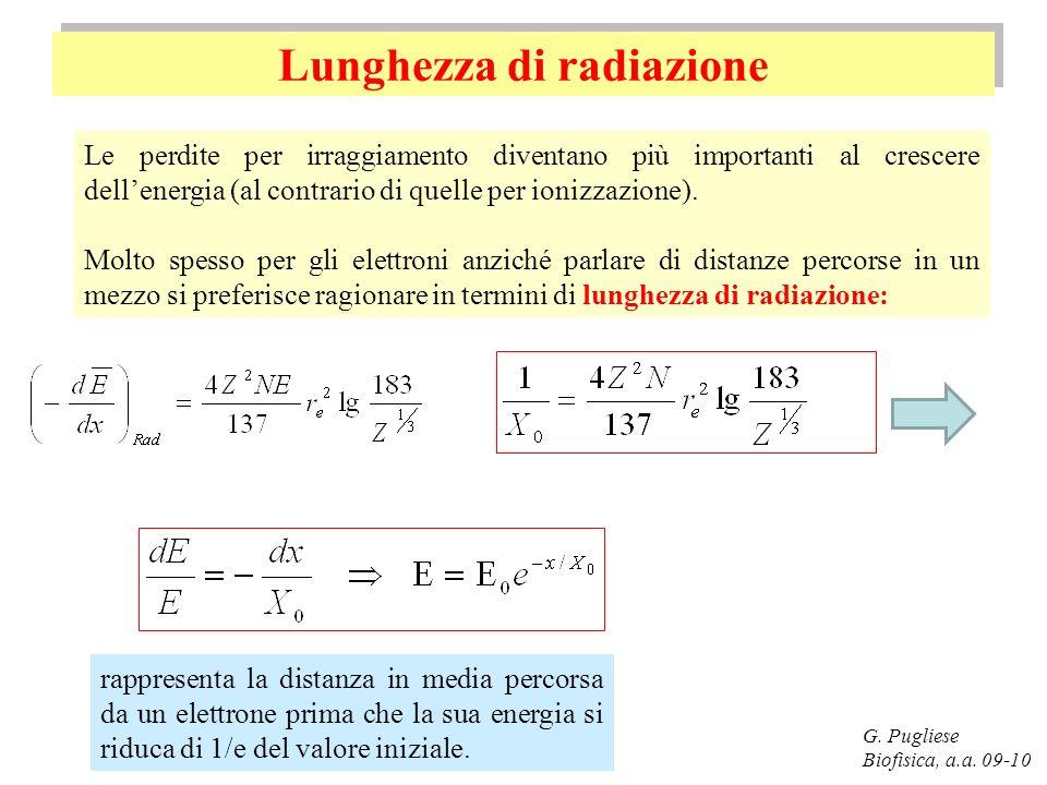 Lunghezza di radiazione G. Pugliese Biofisica, a.a. 09-10 Le perdite per irraggiamento diventano più importanti al crescere dellenergia (al contrario