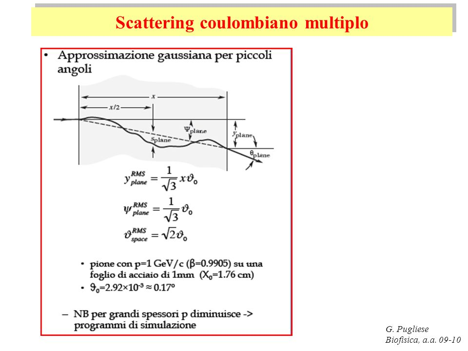 G. Pugliese Biofisica, a.a. 09-10 Scattering coulombiano multiplo