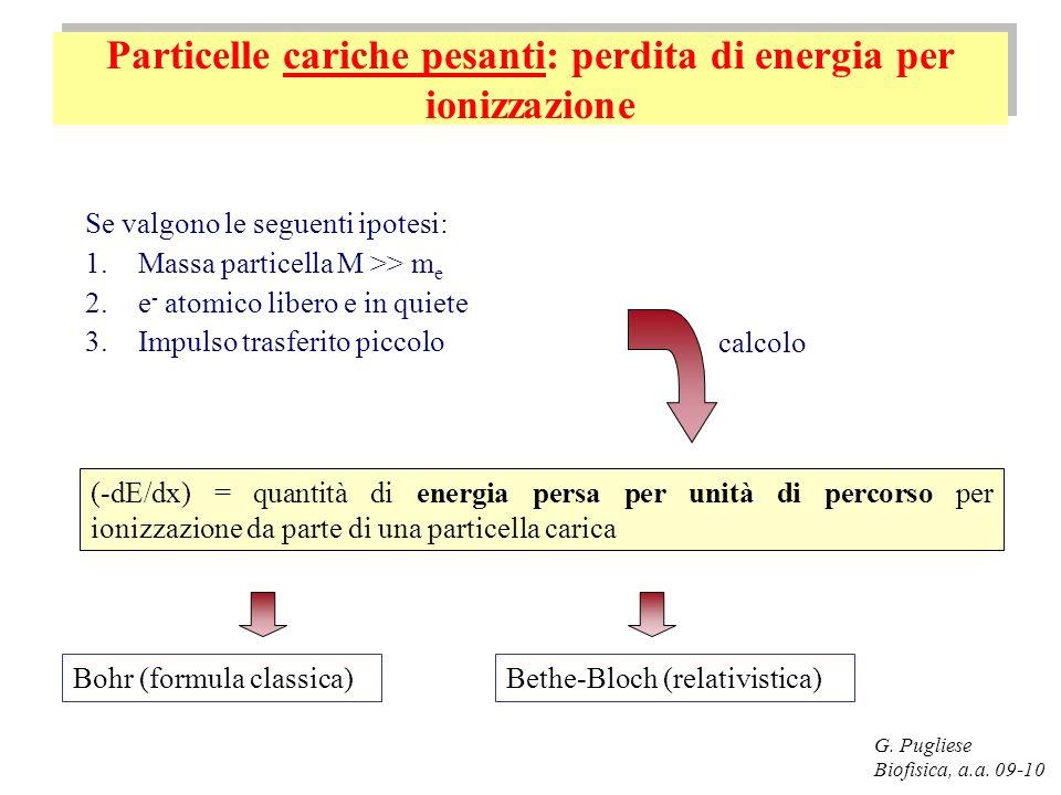 Particelle cariche pesanti: perdita di energia per ionizzazione G. Pugliese Biofisica, a.a. 09-10 Se valgono le seguenti ipotesi: 1.Massa particella M