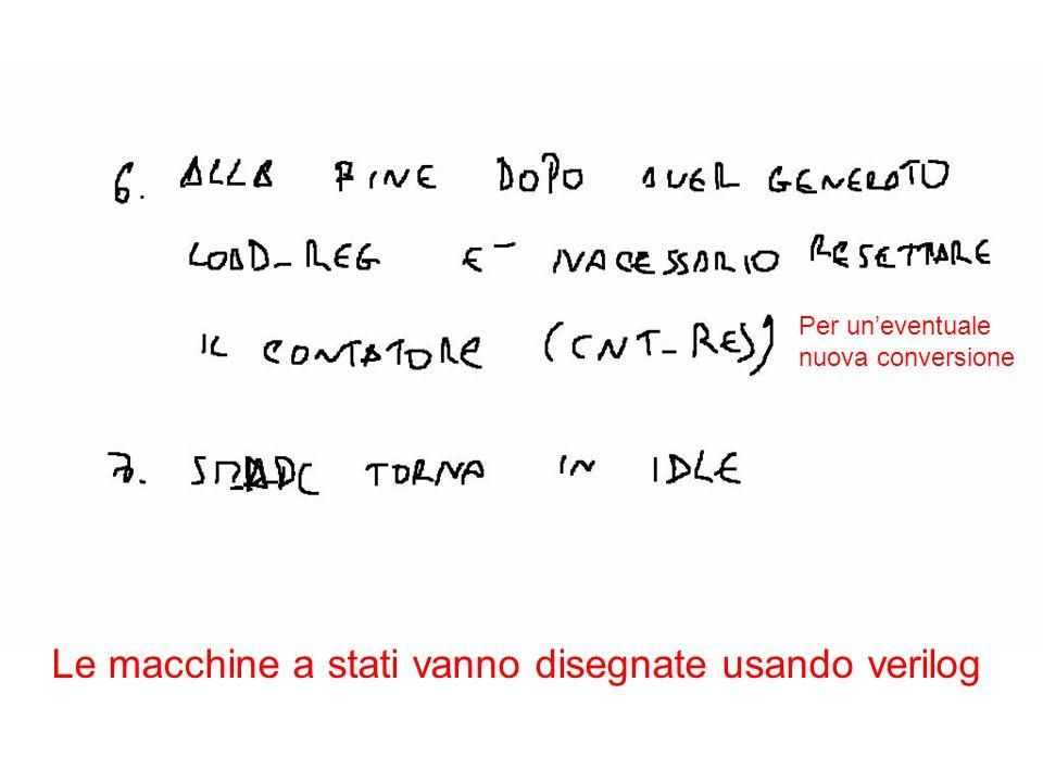 Per uneventuale nuova conversione Le macchine a stati vanno disegnate usando verilog