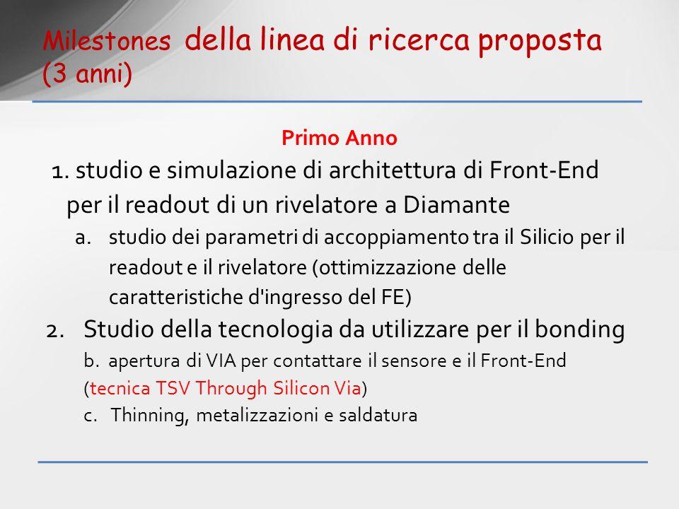 Primo Anno 1. studio e simulazione di architettura di Front-End per il readout di un rivelatore a Diamante a.studio dei parametri di accoppiamento tra