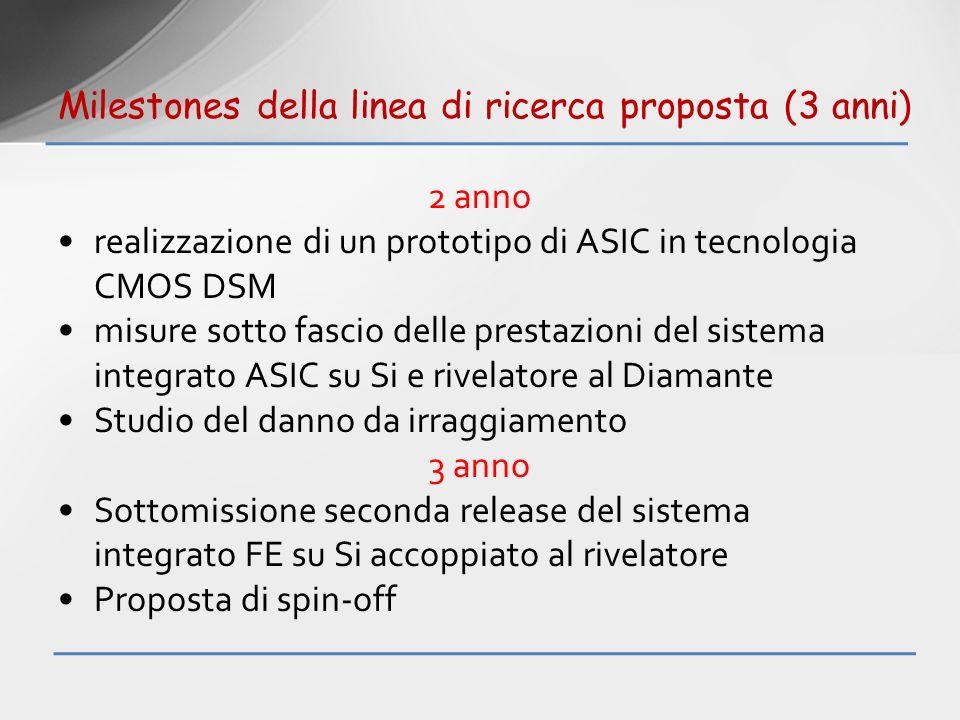 2 anno realizzazione di un prototipo di ASIC in tecnologia CMOS DSM misure sotto fascio delle prestazioni del sistema integrato ASIC su Si e rivelator