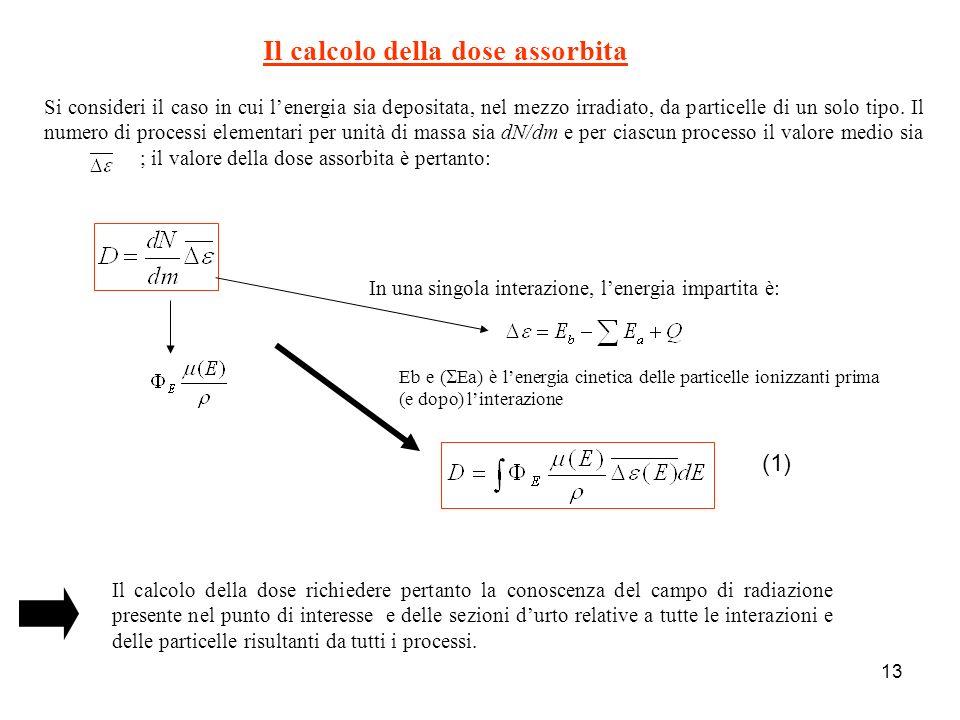 13 Il calcolo della dose assorbita Si consideri il caso in cui lenergia sia depositata, nel mezzo irradiato, da particelle di un solo tipo. Il numero