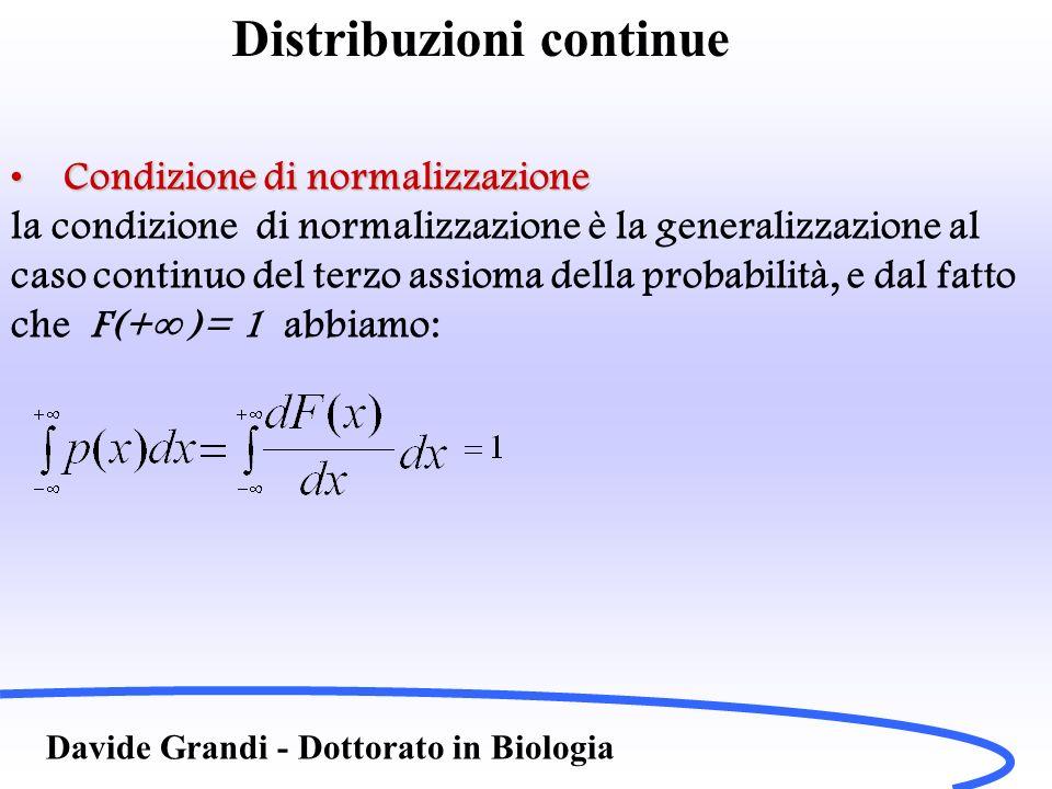 Distribuzioni continue Davide Grandi - Dottorato in Biologia Condizione di normalizzazioneCondizione di normalizzazione la condizione di normalizzazio