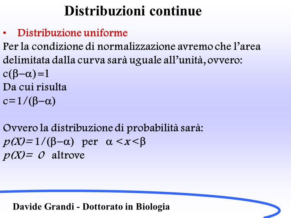 Distribuzioni continue Davide Grandi - Dottorato in Biologia Distribuzione uniformeDistribuzione uniforme Per la condizione di normalizzazione avremo