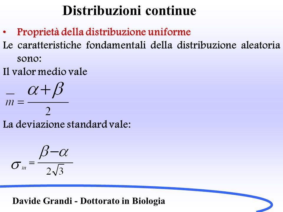 Distribuzioni continue Davide Grandi - Dottorato in Biologia Proprietà della distribuzione uniformeProprietà della distribuzione uniforme Le caratteri
