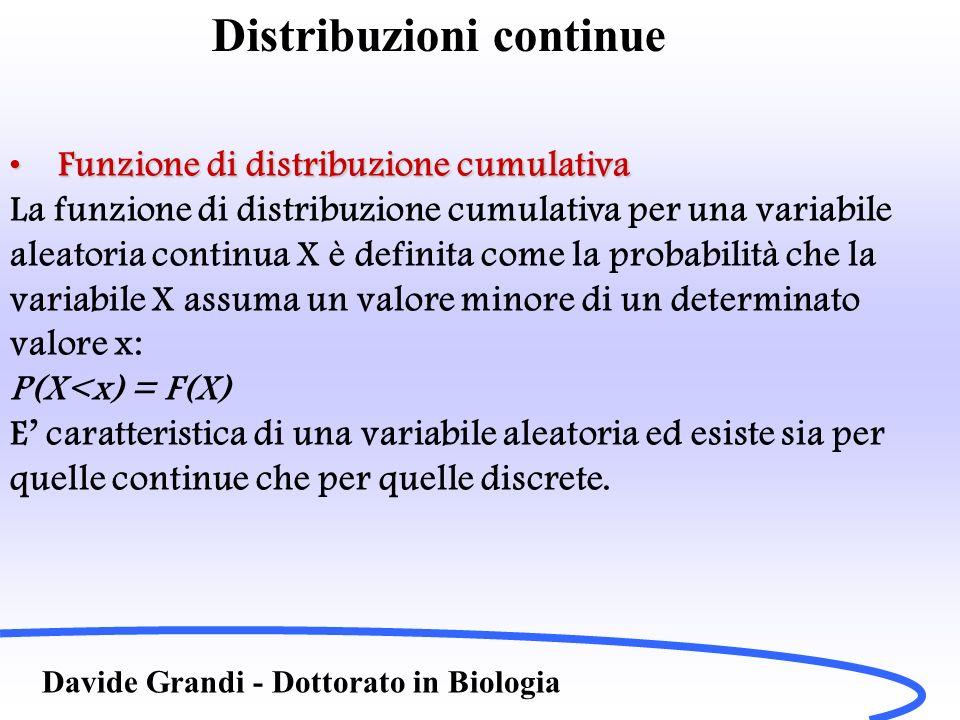 Distribuzioni continue Davide Grandi - Dottorato in Biologia Proprietà della distribuzione uniformeProprietà della distribuzione uniforme Le caratteristiche fondamentali della distribuzione aleatoria sono: Il valor medio vale La deviazione standard vale:
