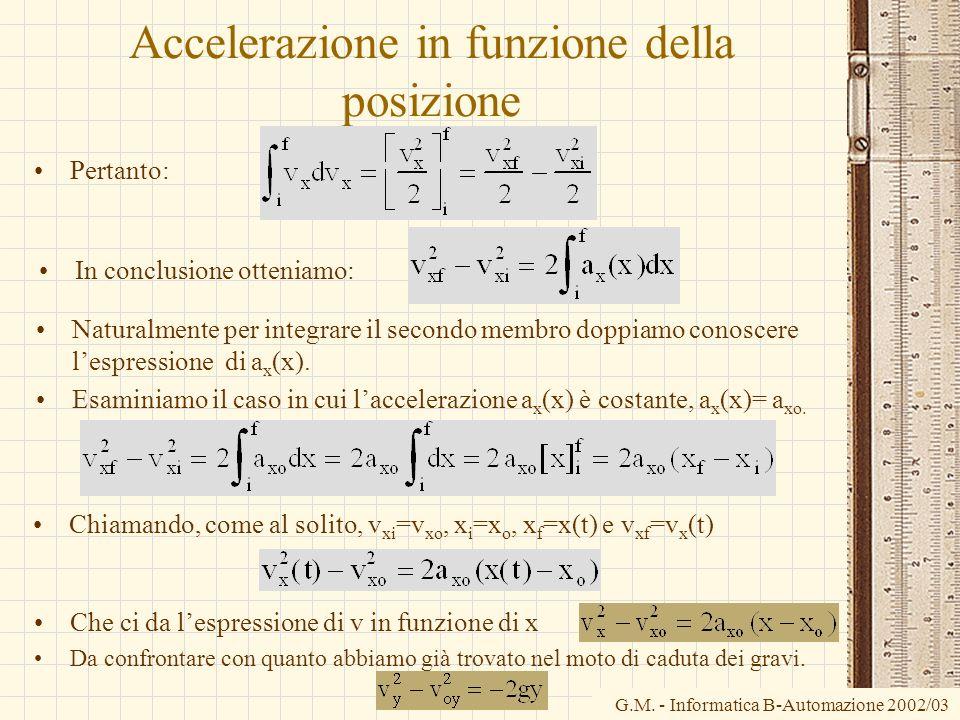 G.M. - Informatica B-Automazione 2002/03 Accelerazione in funzione della posizione Pertanto: Naturalmente per integrare il secondo membro doppiamo con