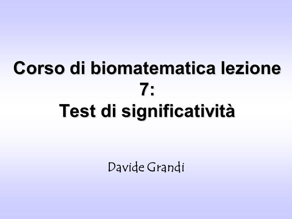 Corso di biomatematica lezione 7: Test di significatività Davide Grandi