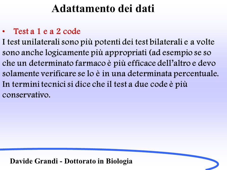 Adattamento dei dati Davide Grandi - Dottorato in Biologia Test a 1 e a 2 codeTest a 1 e a 2 code I test unilaterali sono più potenti dei test bilater