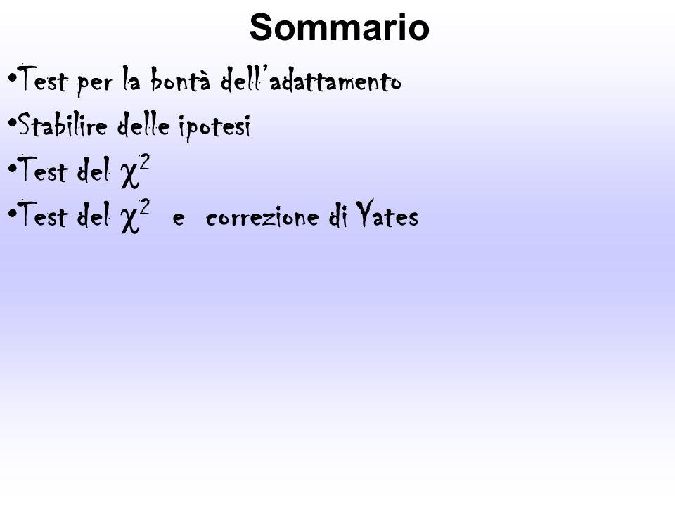 Sommario Test per la bontà delladattamento Stabilire delle ipotesi Test del 2 Test del 2 e correzione di Yates