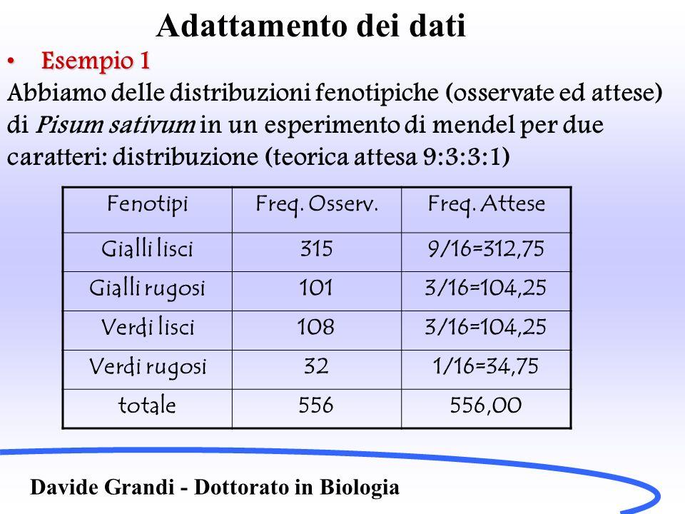 Adattamento dei dati Davide Grandi - Dottorato in Biologia Esempio 1Esempio 1 Abbiamo delle distribuzioni fenotipiche (osservate ed attese) di Pisum s