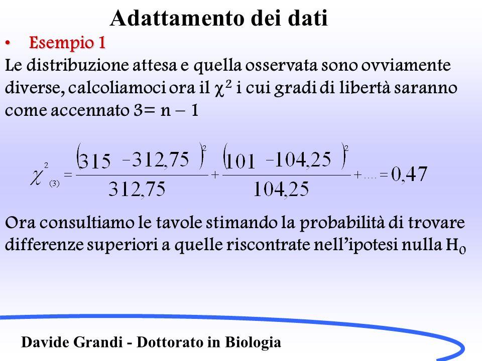 Adattamento dei dati Davide Grandi - Dottorato in Biologia Esempio 1Esempio 1 Per =0,05 Per 3 gradi di libertà (come accennato 3= n – 1) Abbiamo 2 =7,81 Il valore calcolato dunque è molto diverso da quello riportato in tabella per =0,05, ovvero la probabilità di trovare per caso le differenze osservate o ancora maggiori che possano essere attribuite al caso è alta, superiore al valore prefissato del 5%, in generale avremo 2 alto probabile H 1 2 basso probabile H 0