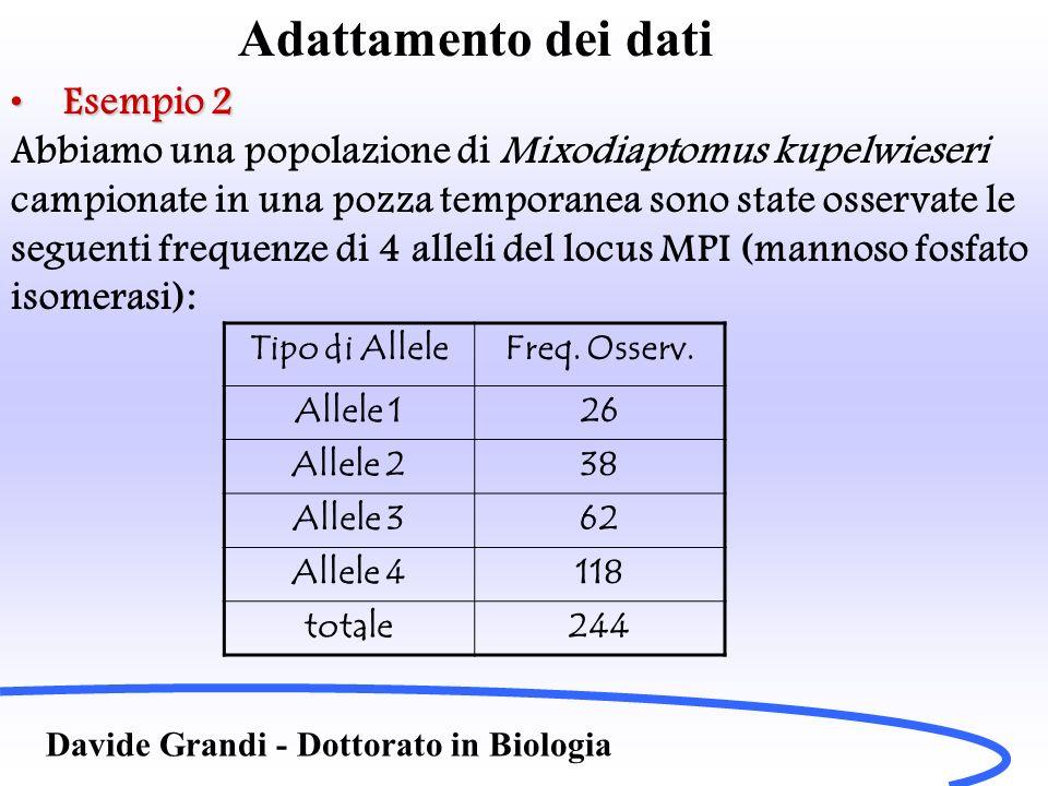 Adattamento dei dati Davide Grandi - Dottorato in Biologia Esempio 2Esempio 2 Mi chiedo dunque se sono le stesse frequenze (differenze dovute al caso) ovvero ipotesi nulla H 0 Oppure sono differenti, ipotesi alternativa H 1 .