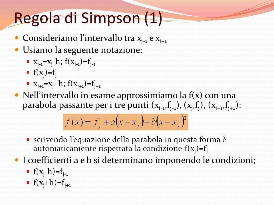 Regola di Simpson (1) Consideriamo lintervallo tra x j-1 e x j+1 Usiamo la seguente notazione: x j-1 =x j -h; f(x j-1 )=f j-1 f(x j )=f j x j+1 =x j +