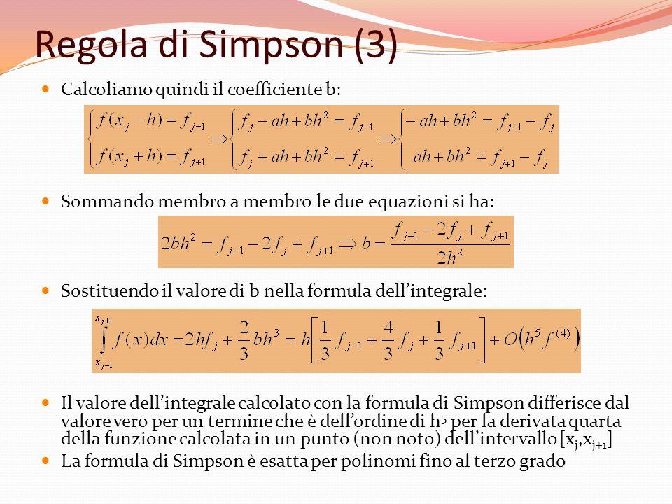 Regola di Simpson (3) Calcoliamo quindi il coefficiente b: Sommando membro a membro le due equazioni si ha: Sostituendo il valore di b nella formula d