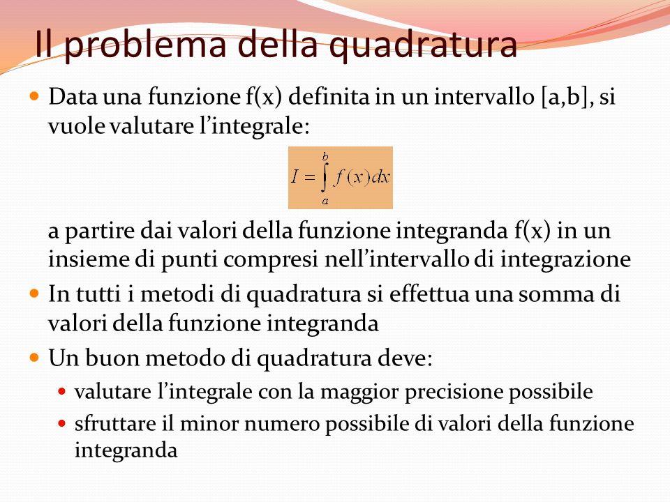 Notazioni Supponiamo di avere una serie di N ascisse equispaziate x 1, x 2,..., x N : x 1 =a; x N =b h = distanza tra ciascuna coppia di ascisse (b-a) = (N-1)h x k =x k +(k-1)h con k=1,...,N poniamo f(x i )=f i Formule chiuse: utilizzano nel calcolo i valori di f 1 e f N Formule aperte: non utilizzano nel calcolo uno o entrambi i valori di f1 e f N possono essere utili se il valore di f in uno degli estremi di integrazione è infinito (purché la singolarità sia integrabile) x 1 =ax2x2 x N =b x y xixi f i =f(x i ) h