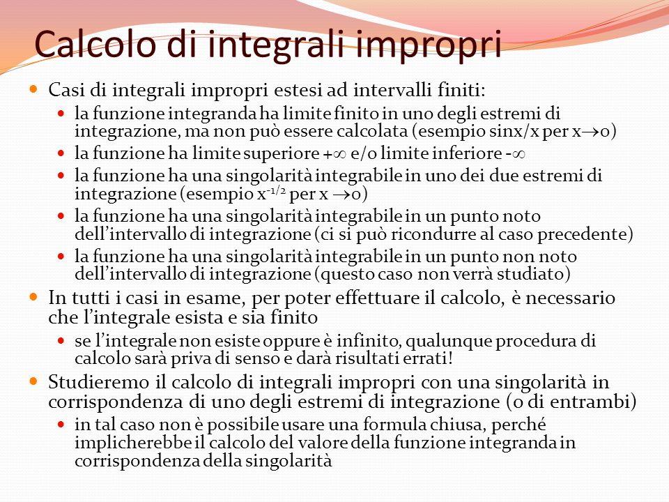 Calcolo di integrali impropri Casi di integrali impropri estesi ad intervalli finiti: la funzione integranda ha limite finito in uno degli estremi di