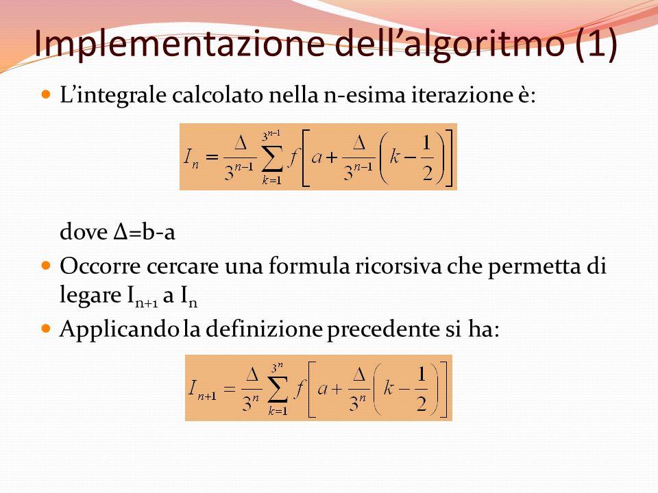 Implementazione dellalgoritmo (1) Lintegrale calcolato nella n-esima iterazione è: dove Δ=b-a Occorre cercare una formula ricorsiva che permetta di le