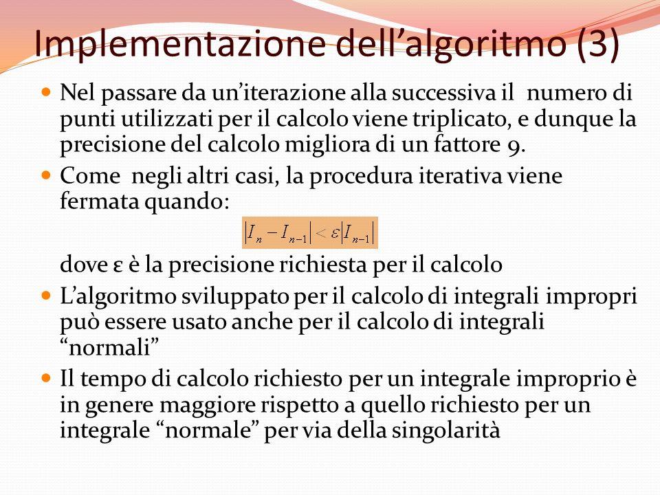 Implementazione dellalgoritmo (3) Nel passare da uniterazione alla successiva il numero di punti utilizzati per il calcolo viene triplicato, e dunque