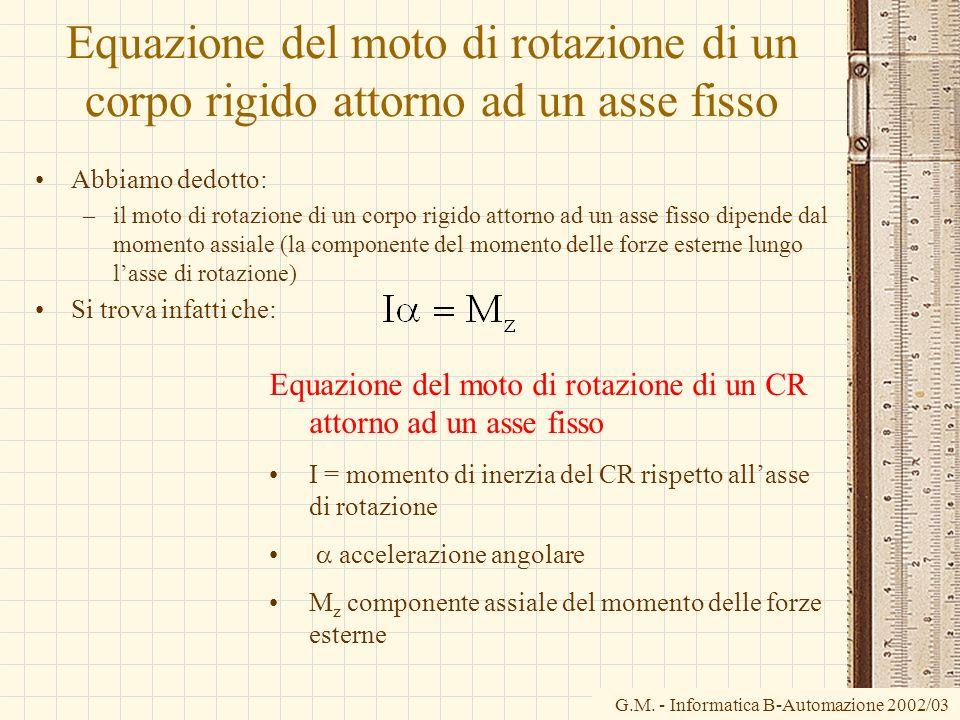G.M. - Informatica B-Automazione 2002/03 Equazione del moto di rotazione di un corpo rigido attorno ad un asse fisso Abbiamo dedotto: –il moto di rota