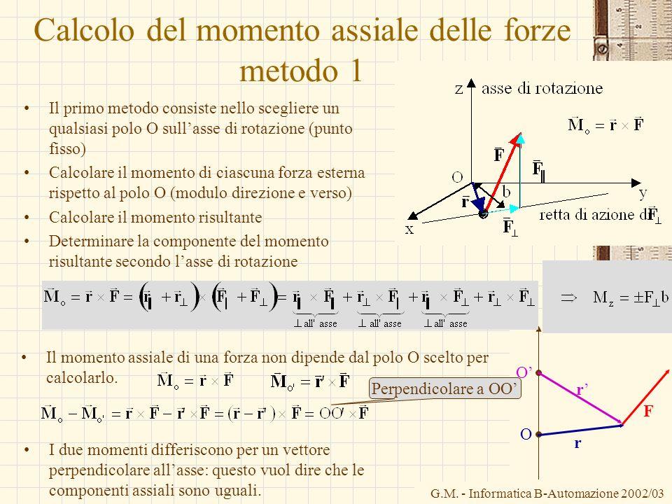 G.M. - Informatica B-Automazione 2002/03 Calcolo del momento assiale delle forze metodo 1 Il primo metodo consiste nello scegliere un qualsiasi polo O