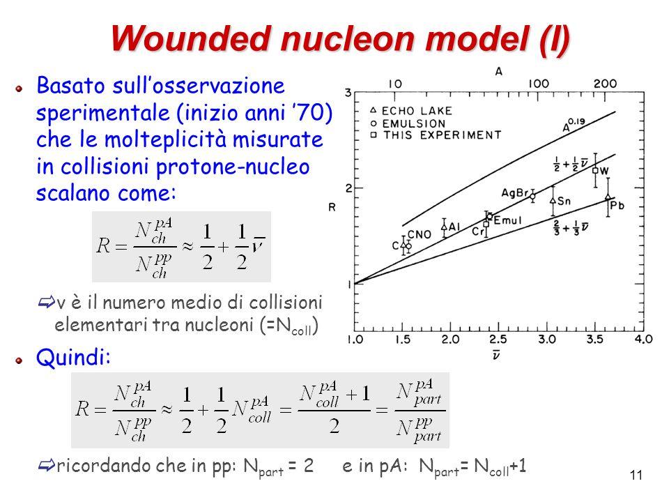 11 Wounded nucleon model (I) Basato sullosservazione sperimentale (inizio anni 70) che le molteplicità misurate in collisioni protone-nucleo scalano c