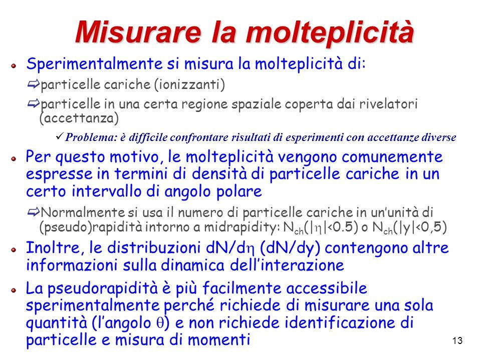 13 Misurare la molteplicità Sperimentalmente si misura la molteplicità di: particelle cariche (ionizzanti) particelle in una certa regione spaziale co