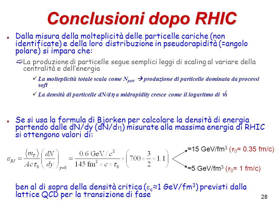 28 Conclusioni dopo RHIC Dalla misura della molteplicità delle particelle cariche (non identificate) e della loro distribuzione in pseudorapidità (=an