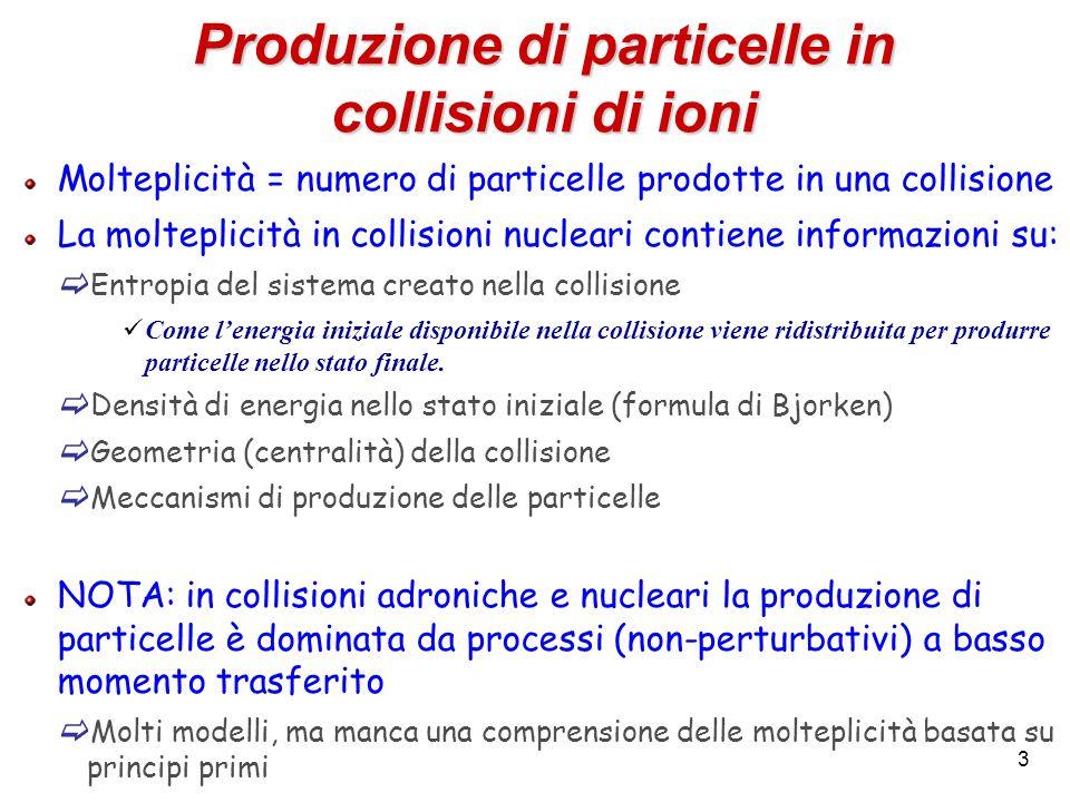 3 Produzione di particelle in collisioni di ioni Molteplicità = numero di particelle prodotte in una collisione La molteplicità in collisioni nucleari