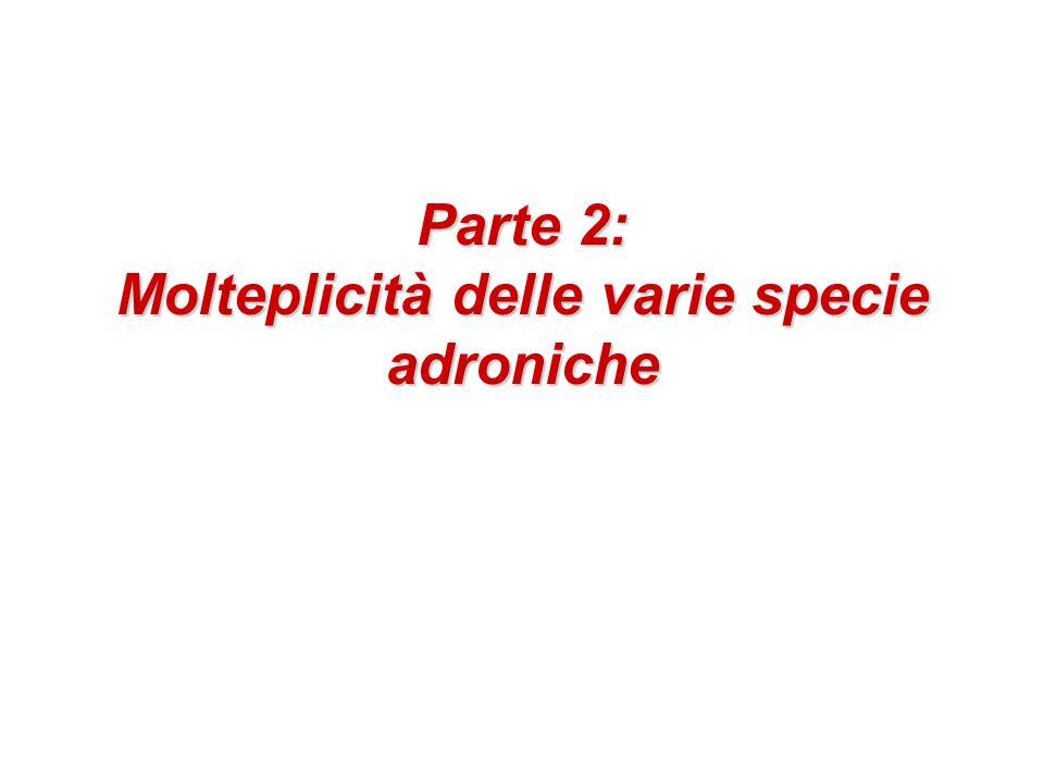 Parte 2: Molteplicità delle varie specie adroniche