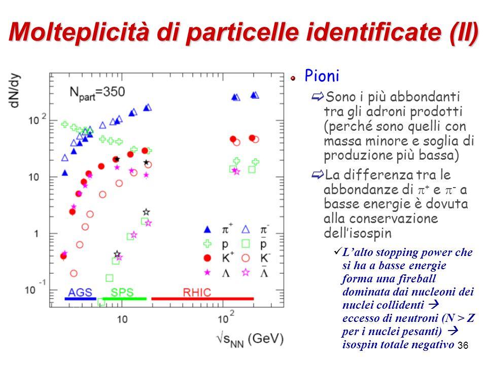 36 Molteplicità di particelle identificate (II) Pioni Sono i più abbondanti tra gli adroni prodotti (perché sono quelli con massa minore e soglia di p