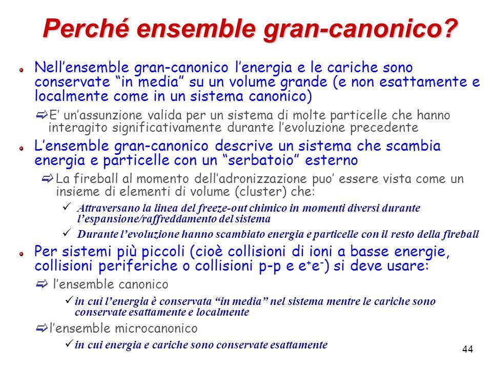 44 Perché ensemble gran-canonico? Nellensemble gran-canonico lenergia e le cariche sono conservate in media su un volume grande (e non esattamente e l