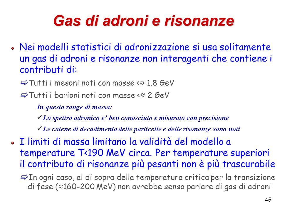 45 Gas di adroni e risonanze Nei modelli statistici di adronizzazione si usa solitamente un gas di adroni e risonanze non interagenti che contiene i c