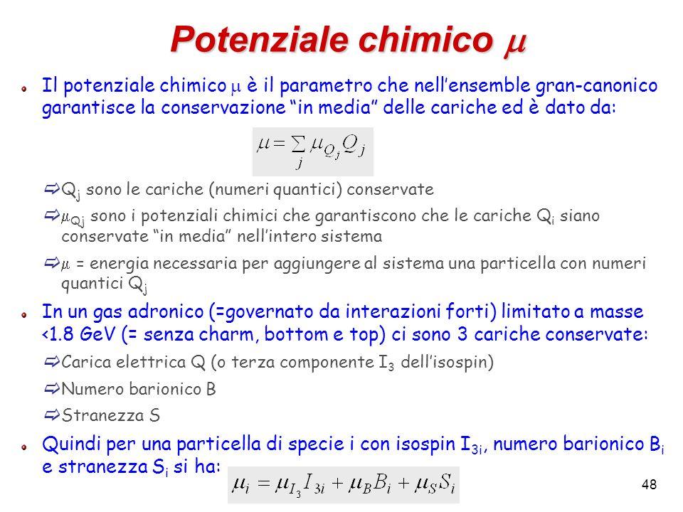 48 Potenziale chimico Potenziale chimico Il potenziale chimico è il parametro che nellensemble gran-canonico garantisce la conservazione in media dell