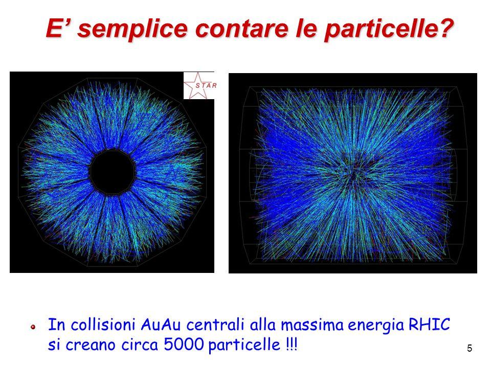 5 E semplice contare le particelle? In collisioni AuAu centrali alla massima energia RHIC si creano circa 5000 particelle !!!