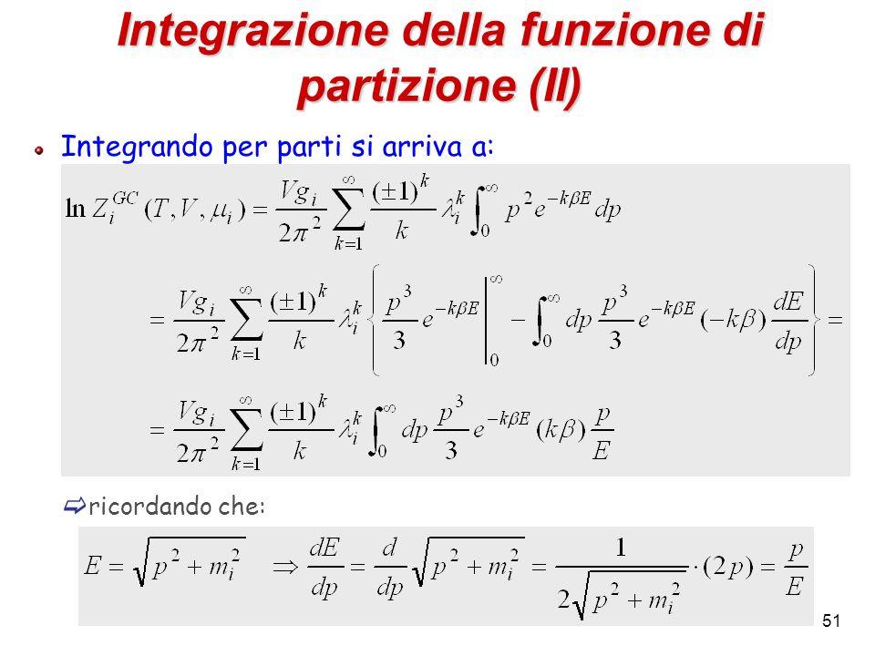 51 Integrazione della funzione di partizione (II) Integrando per parti si arriva a: ricordando che: