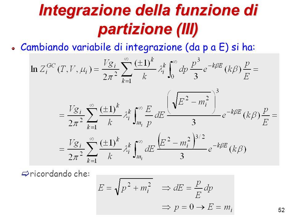 52 Integrazione della funzione di partizione (III) Cambiando variabile di integrazione (da p a E) si ha: ricordando che: