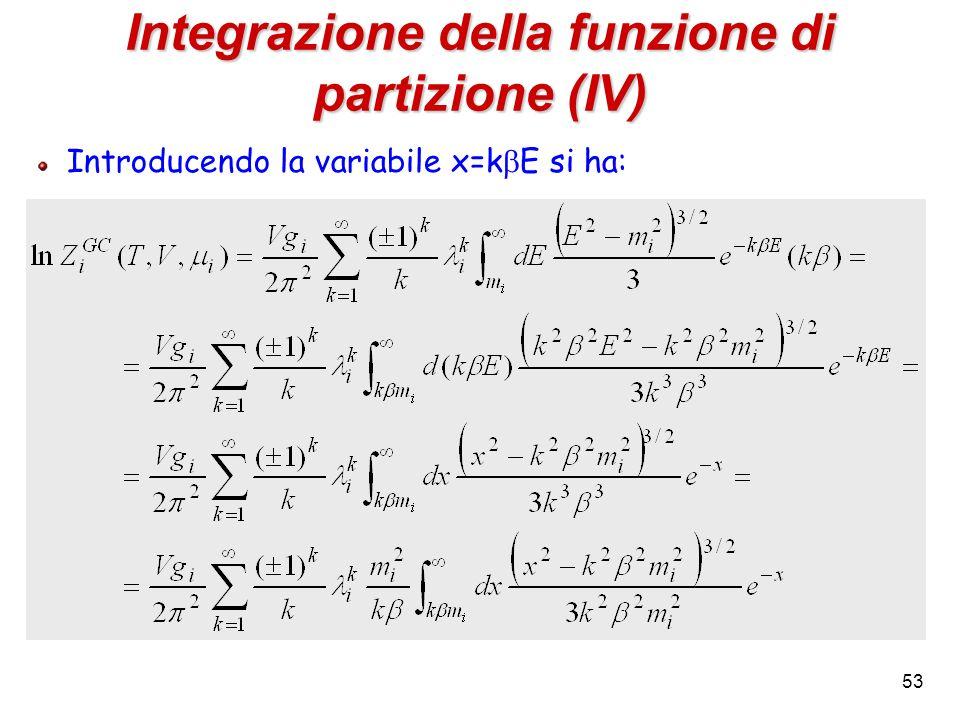 53 Integrazione della funzione di partizione (IV) Introducendo la variabile x=k E si ha: