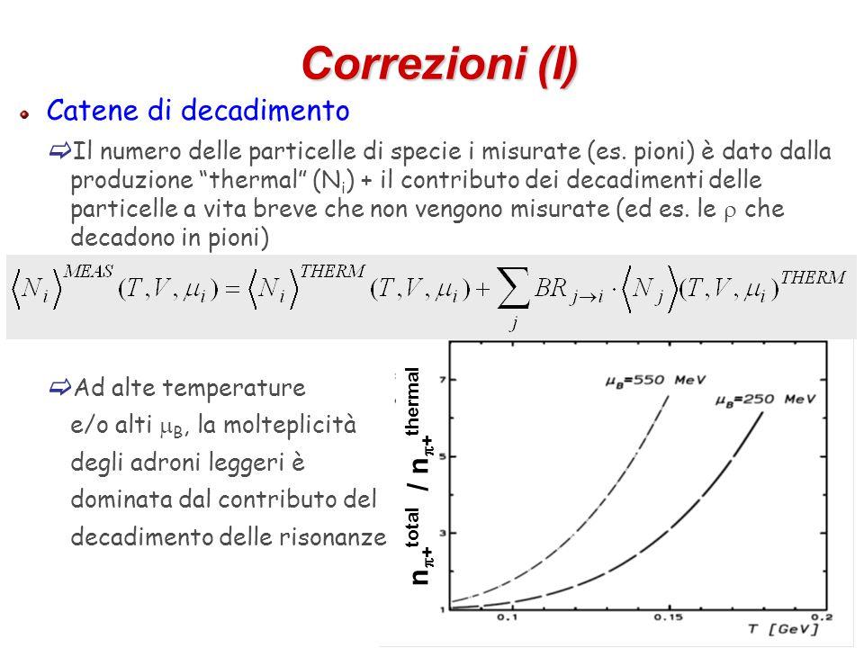 58 Correzioni (I) Catene di decadimento Il numero delle particelle di specie i misurate (es. pioni) è dato dalla produzione thermal (N i ) + il contri