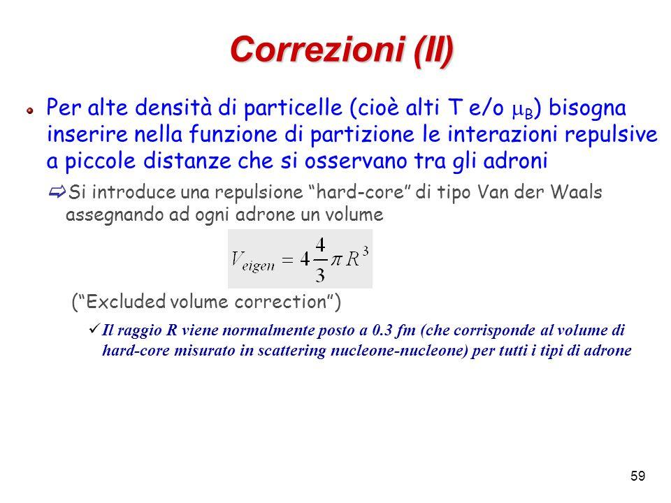 59 Correzioni (II) Per alte densità di particelle (cioè alti T e/o B ) bisogna inserire nella funzione di partizione le interazioni repulsive a piccol