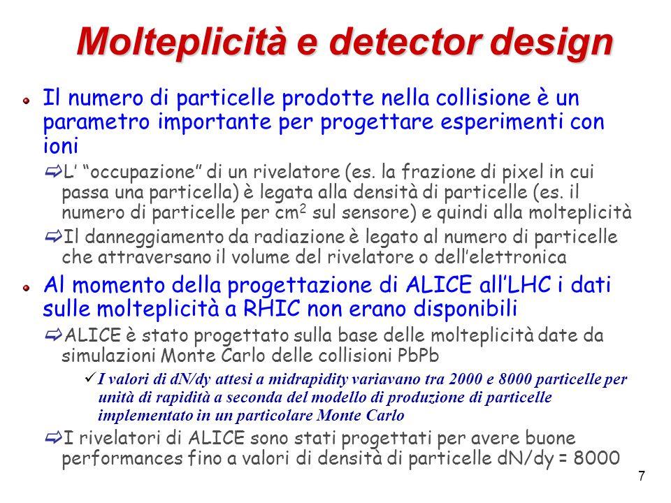 7 Molteplicità e detector design Il numero di particelle prodotte nella collisione è un parametro importante per progettare esperimenti con ioni L occ