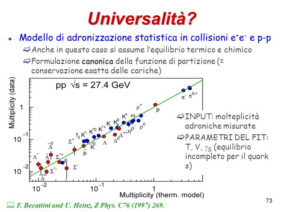 73 Universalità? Modello di adronizzazione statistica in collisioni e + e - e p-p Anche in questo caso si assume lequilibrio termico e chimico Formula