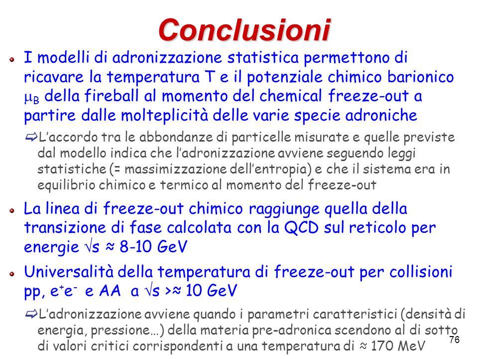 76 Conclusioni I modelli di adronizzazione statistica permettono di ricavare la temperatura T e il potenziale chimico barionico B della fireball al mo