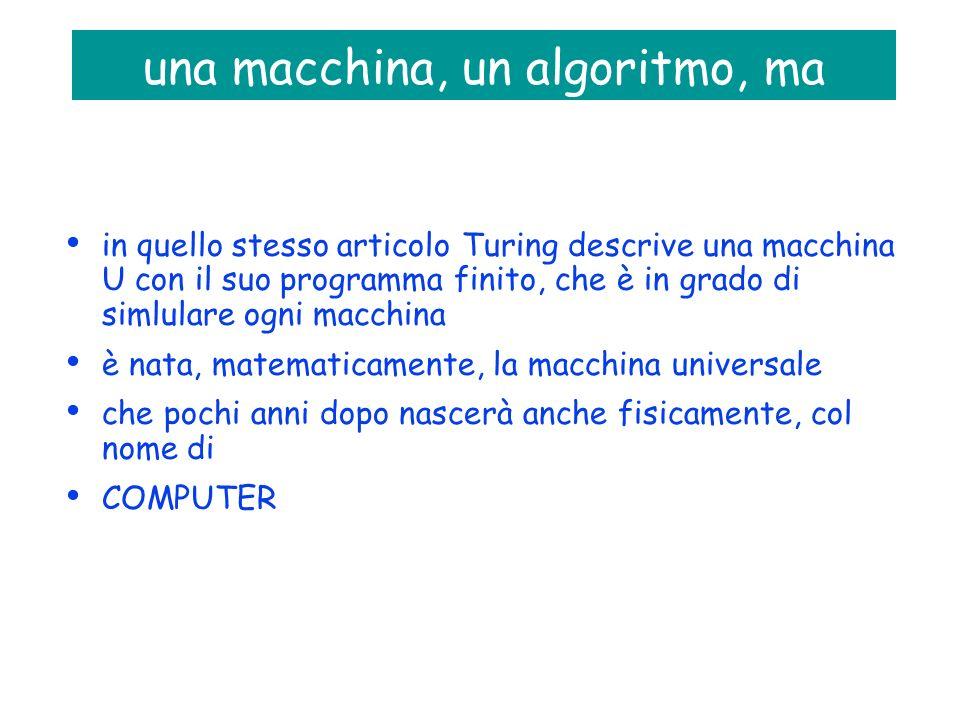 una macchina, un algoritmo, ma in quello stesso articolo Turing descrive una macchina U con il suo programma finito, che è in grado di simlulare ogni macchina è nata, matematicamente, la macchina universale che pochi anni dopo nascerà anche fisicamente, col nome di COMPUTER